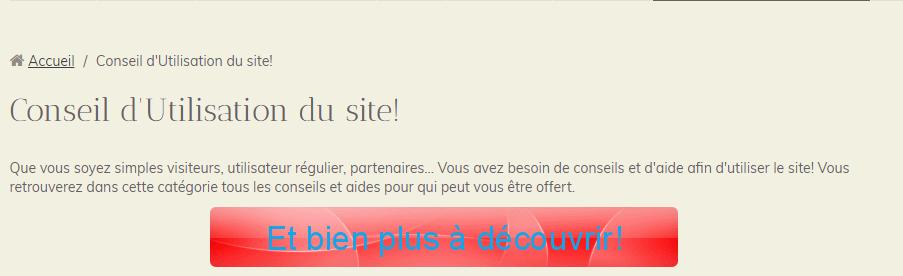 Conseil d'Utilisation du site! (1)