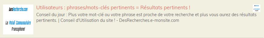 Utilisateurs : phrases/mots-clés pertinents = Résultats pertinents !