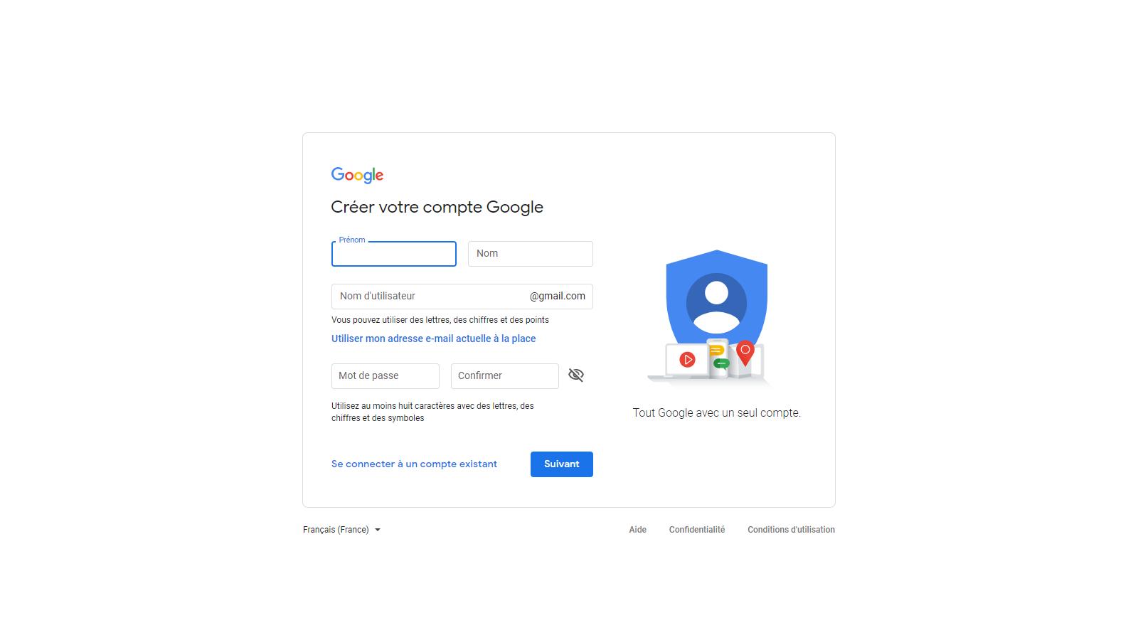 Capture d'écran : Créer votre compte google